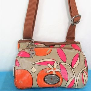Fossil Key-Per  Coated Canvas Floral Cross Body